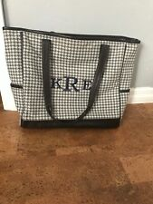 Thirty-One Huge Large Bag Black & Gray Houndstooth Handbag Purse Personal  R KE