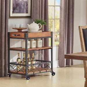 Industrial Bar Trolley Wood Shelf KitchenServing Drinks Tray Wine Cart Racks Pub