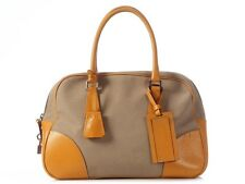 PRADA Beige Canvas and Orange Leather Bowler Bag ~ Casual with a pop of color!