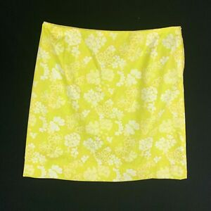 Vintage 1970s Lilly Pulitzer Fabric Golf Skirt XL Yellow Floral Pocket
