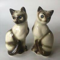 "Siamese Cat Salt and Pepper Shaker Set Rhinestone Eyes 4"" Tall Vintage Japan"