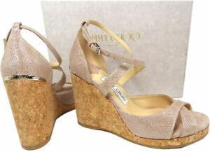 Jimmy Choo Alanah Cork Metallic Pink Suede Platform Wedge Sandals Shoes 40