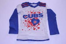 Youth Girls Chicago Cubs XS (4/5) L/S T-Shirt Tee (Hearts) Team Athletics