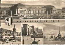 Leipzig, Messestadt, Hauptbahnhof, Straßenbahn, alte DDR-Foto-Ansichtskarte