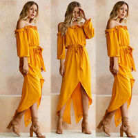 Sexy Womens Summer Cotton Half Sleeve Off Shoulder Party Beach Casual Long Dress
