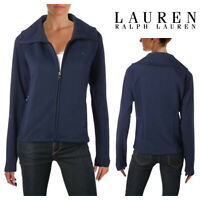 🆕Lauren Ralph Lauren Womens Quilted Stretch Cotton Jacket LARGE Blue/Navy Zip