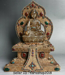 "15.6"" Old Tibet Buddhism Crystal Filigree Inlay Gem Shakyamuni Buddha Statue"