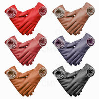 Womens Ladies Leather Gloves Fleece Lined Driving Soft Genuine Unique  Winter Bow e7d81535e3a
