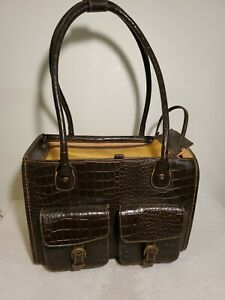 Faux Crocodile Brown Leather Small Pet Carrying Bag.