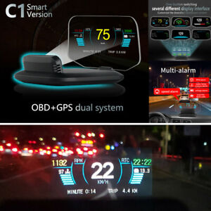 Car Head Up Display Speed/RPM/Voltage Warning Hud OBD2 GPS Fuel Fault Code Scan