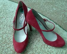 Michael Kors GALLI Crimson Suede Desighner Mary Janes Heels Pumps Size 8
