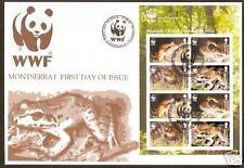 WWF WORLD WILDLIFE FUND MONTSERRAT FROGS SHEET of 2 FDC