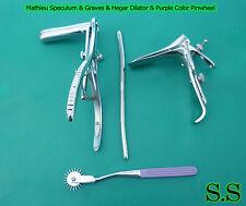 Mathieu Speculum Hegar Dilator Purple Pinwheel & Graves Speculum Large