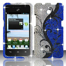 For Huawei H881C ACE Crystal Diamond BLING Hard Case Cover Blue Vines