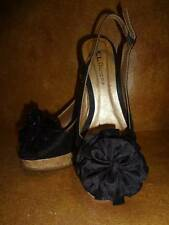 CL Chinese Laundry Ilena Womens Shoes Black Fabric Wedge Faux Cork Size 7.5