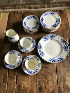 Antique Vintage Blue and Gold tea set Leaf Pattern 28 Pieces