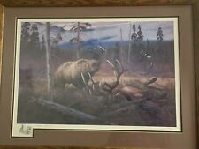 Rare Hayden Lambson Signed A/P Remarque Edition Grizzly Bear & Elk Print 25/25