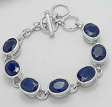 "8"" Solid Sterling Silver Genuine Natural Oval Sapphire Bracelet 22.2g 11mm wide"