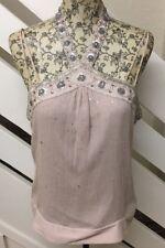 Stunning Karen Millen Light Pink Sequin Jewel Halter Neck Top Size 14 UK