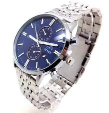 115A New Elegant Mens Dress Wrist Watch Silver Band Quartz Blue Chronograph Dial