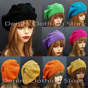 Women's Fall Spring Winter  Crochet Knit Slouchy Beanie Beret Cap Summer Hat