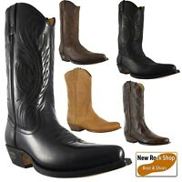 LOBLAN 194 Western Black, Brown Whisky and Tan Leather Classic Real Cowboy Boots