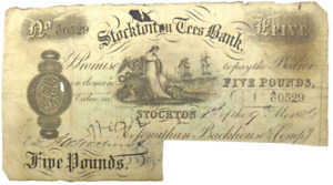 1886 Stockton On Tees Bank £5 Five Pound Banknote A/C.