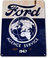 Ford Service Agence Dealer Retro Vintage Logo Garage Wall Decor Metal Tin Sign