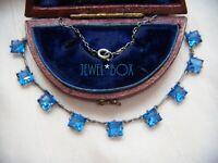 ART DECO Open Back Bezel Set Sapphire Paste Vintage DEMI RIVIERE NECKLACE