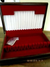 ~VINTAGE TIMBER CUTLERY BOX - LINED - DOES NOT INCLUDE CUTLERY - GC~