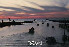 Parade of Boats on Lake Huron Michigan, Au Sable River Harbor at Oscoda Postcard