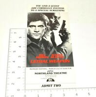 Lethal Weapon Collectible Advance Movie Screening Ticket Mel Gibson Danny Glover