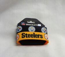 NFL Pittsburg Steelers 2 Pack Bracelet Wrist Bands Set Rubber PVC Type FREESHIP