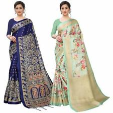 BHAKARWADi Women's Khadi Art silk saree with blouse piece (Pack of 2 combo)