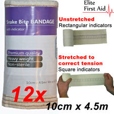 12 x Premium Snake Bite Bandage with compression indicator. 10cm x 4.5m
