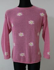 UNITED COLORS OF BENETTON Womens Sweater Jumper Flower Power Pink Cotton Size XL