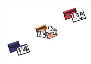 Startnummernhalter Firedog, Armhalterung für Startnummern blau, rot oder orange