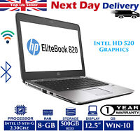 "HP EliteBook 820 G3 12.5"" Laptop Intel 6th-Gen i5 2.3Ghz 8GB RAM 500GB HDD Win10"