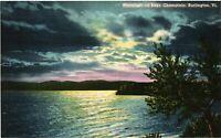 Vintage Postcard - Un-Posted Linen Moonlight On Lake Champlain Vermont VT #4810