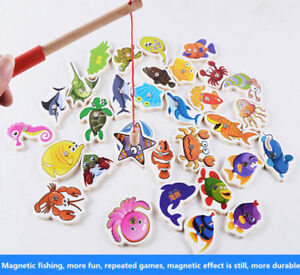 Wooden Magnetic Fish Toys Kids Educational Fishing Magnet Puzzle Game Gifts UK