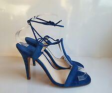 Zara WOMEN'S Azul Cobalto abierto T Bar Corbata alrededor Tacones Zapatos Fiesta Blogger Reino Unido 5/38