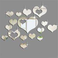 Home 3D Removable Heart Sticker Art Wall Sliver Stickers Living Room Decoration
