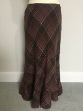 LAURA ASHLEY size 12 wool, maxi, long skirt brown/pink. NEW