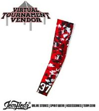 Red Camo Compression Arm Sleeve with JERSEY NUMBER! Baseball Softball