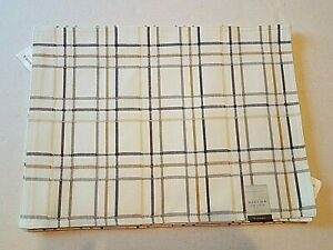 Sonoma Plaid Placemats  Set of 6 Dillon Ivory 100% Cotton Brown 14x19 Casual