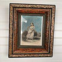 """Antiq 1850 Engraving W E Tucker Litho Fashion Decor Frame Tinted 10""""x12"""" Godey"""