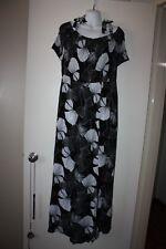 Avella Black & White Shirred Bodice Maxi Dress Sz 18 NEW