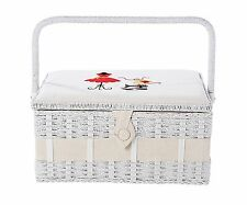 Vintage Sewing Basket Organizer Box Kit with Hand Sewing Supplies and Notions, x