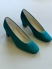 Vintage 80s Deadstock Dyeables Ii Teal Square Toe Block Heels 7.5 M Luxe Satin