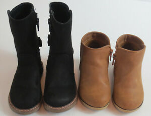 LOT Toddler Girls Boots Size 6 Black Brown Cat & Jack Zipper Bow Sparkle READ